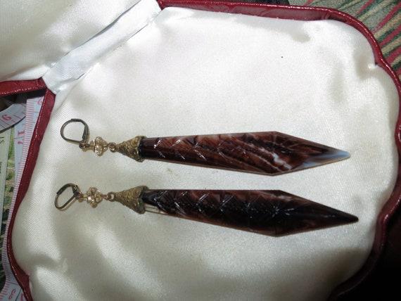 Vintage Old Czech etched dark topaz amber glass dropper earrings