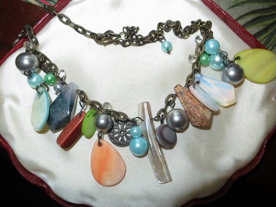 Vintage moonstone glass charm  pearl beaded necklace