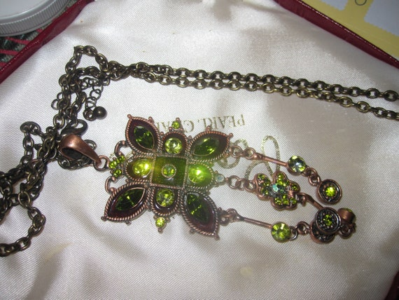 Vintage long  necklace with olive green rhinestone dangle copper pendant