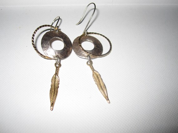 Lovely pair of Israeli hammered sterling silver and gold plated earrings