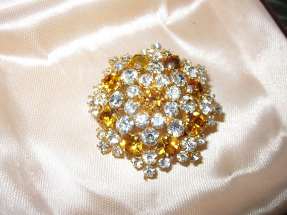 Fabulous Vintage  Gold Plated clear and amber glass Brooch