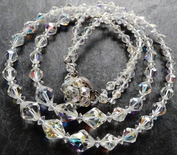 Lovely vintage 2 strand AB facet cut clear glass bead necklace flower clasp