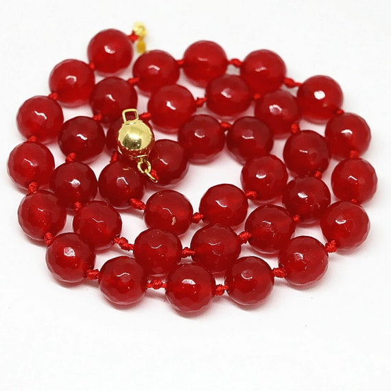 Beautiful faceted 6.5 mm raw red ruby knotted necklace gold plated clasp