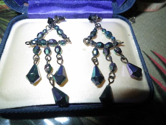 Beautiful vintage silvertone fx carnival glass dropper earrings
