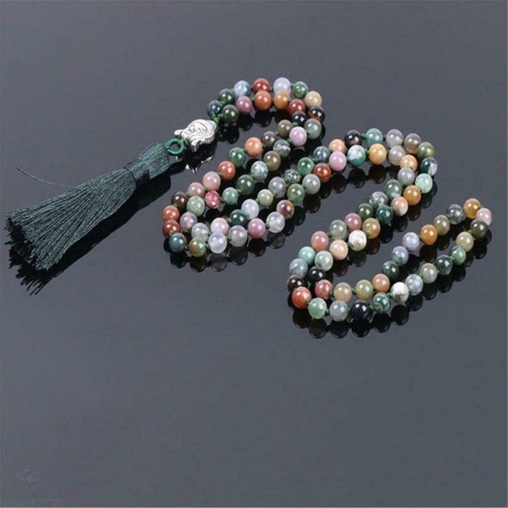 """Lovely 6mm Indian agate knotted Necklace with silky green tassel 30"""""""
