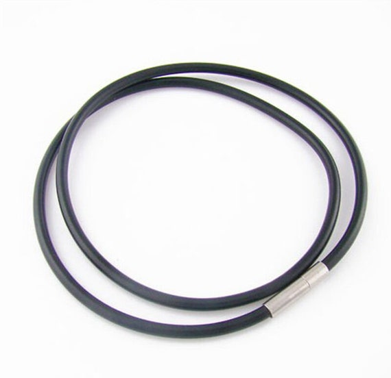 Lovely black rubber stainless steel cord for pendant or necklace 21""