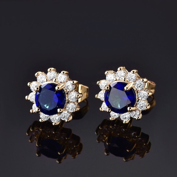 Lovely 24 ct yellow gold filled blue sapphire crystal stud earrings