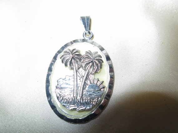 Vintage Silver Tone Eloxal  Hawaiian Palm Trees Pendant With Pearlized Celluloid