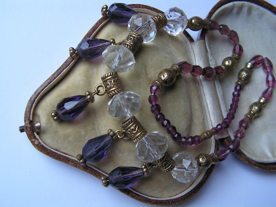 Beautiful Vintage Art Deco amethyst crystal droplet necklace