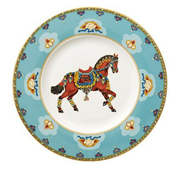 Villeroy and Boch Samarkand Aquamarin horse display bone porcelain plate 22 cm
