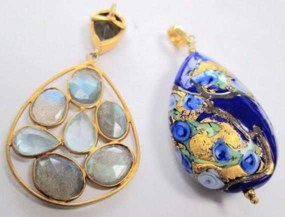 Fine quality large vintage gilded silver & labradorite pendant and blue Venetian glass pendant