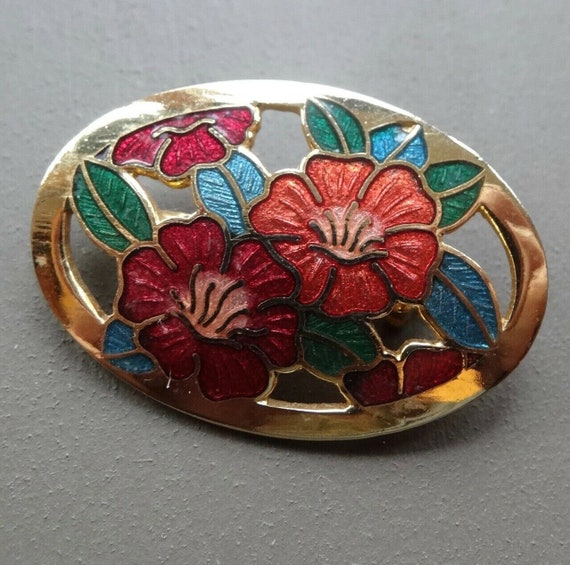 Beautiful  vintage red orange cloisonne enamel gold tone flower brooch