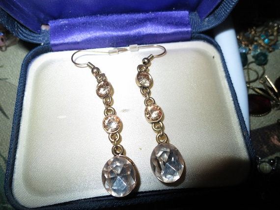 Fabulous pair of vintage goldtone citrine and clear bead drop earrings