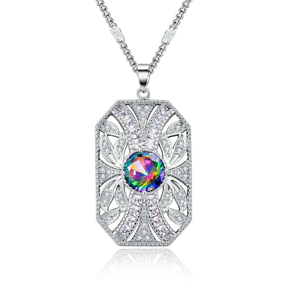Beautiful silver plated Art Deco style rainbow topaz pendant necklace