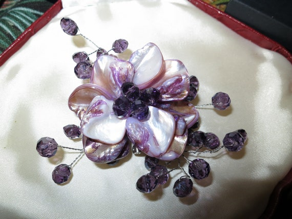 Beautiful vintage large corsage style wedding purple glass abalone brooch