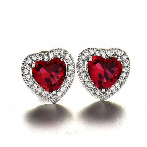 Beautiful 18 ct white gold filled garnet crystal heart shaped stud earrings