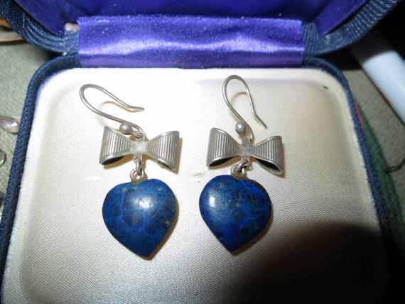 Fabulous pair of vintage lapis lazuli heart bow dropper earrings