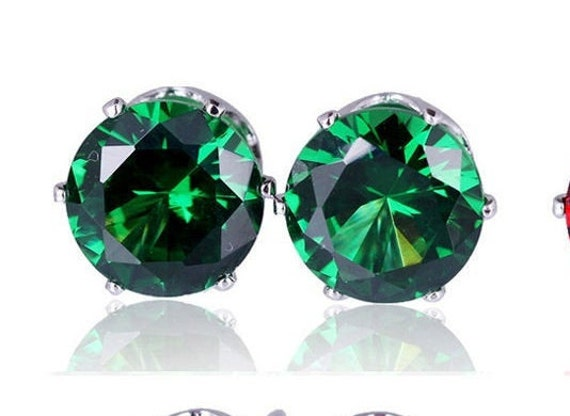 Lovely silver plated emerald green crystal stud earrings