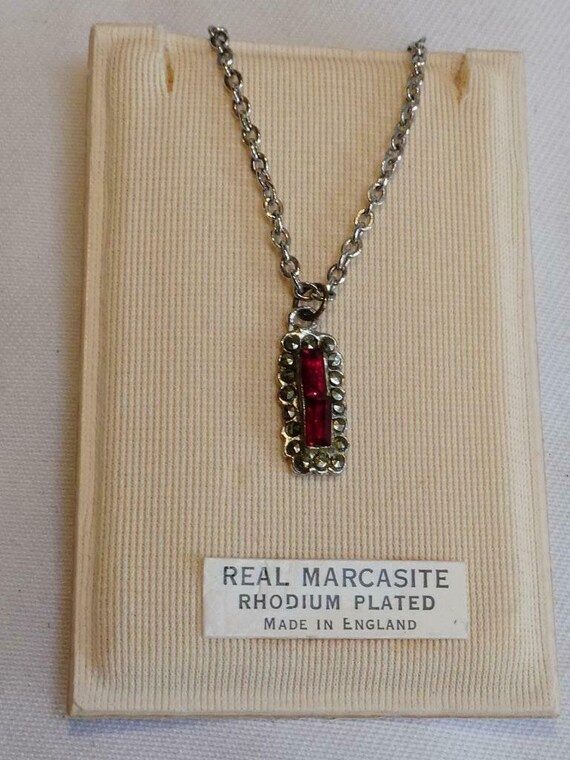 Good quality vintage rhodium plated marcasite and ruby red glass necklace boxed