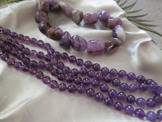 Attractive set of genuine natural amethyst longline necklace and bracelet
