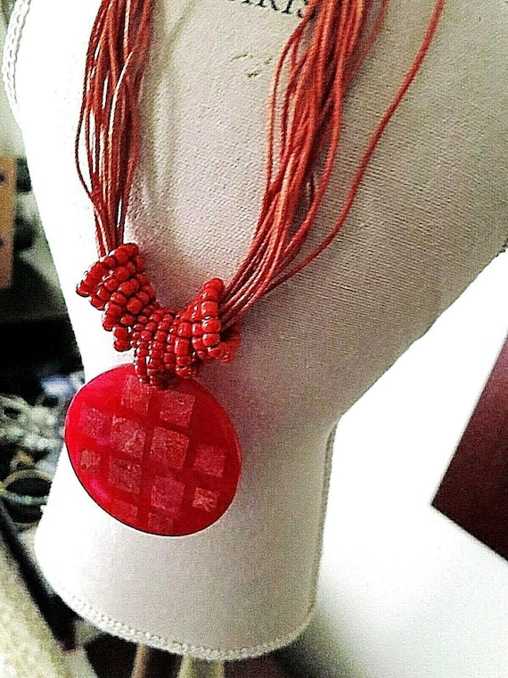 Wonderful vintage retro necklace with red pendant and coral beads