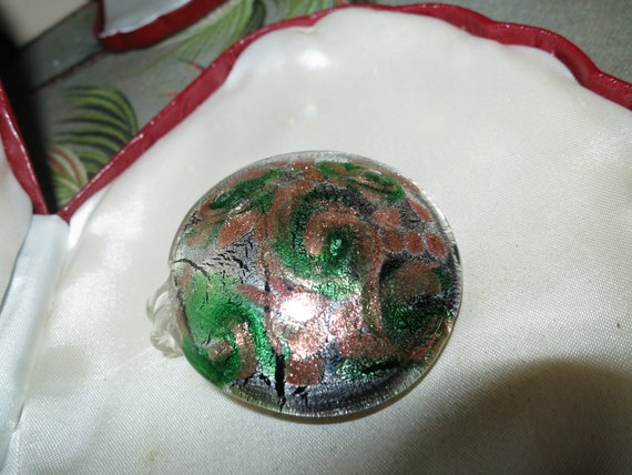 Wonderful Vintage Murano dichroic foiled green glass adventurine large pendant