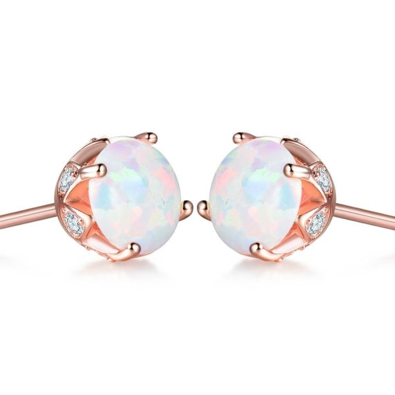 Beautiful 18 ct rose gold filled white fire opal stud earrings
