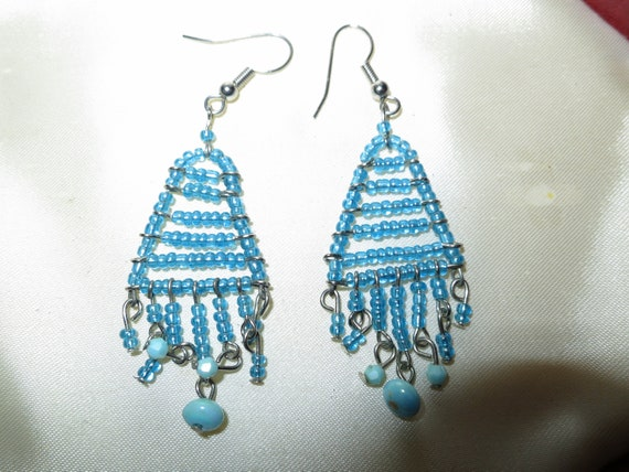 Beautiful vintage  blue glass tiny beaded drop earrings