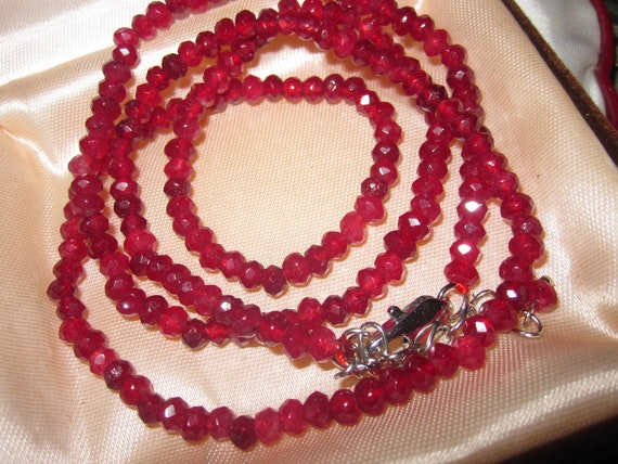 Attractive 4 mm natural raw ruby necklace 24 - 26 inches
