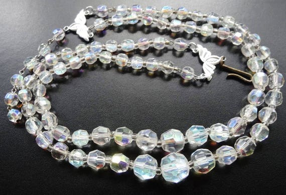 Lovely vintage AB glass bead 2 strand necklace hook clasp 1950s
