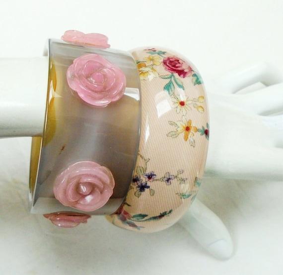 2 wonderful vintage Wide vintage flower design glass cuff bracelet bangles