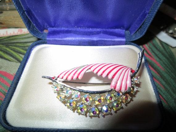 Vintage Aurora Borealis Stone Pink Enamel Floral Brooch