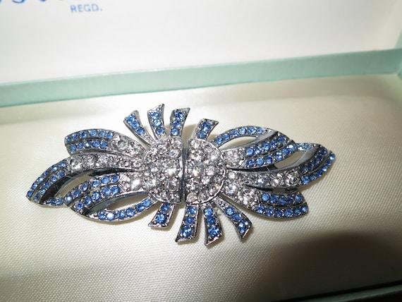 Beautiful vintage Deco metal blue rhinestone duet dress clip or brooch
