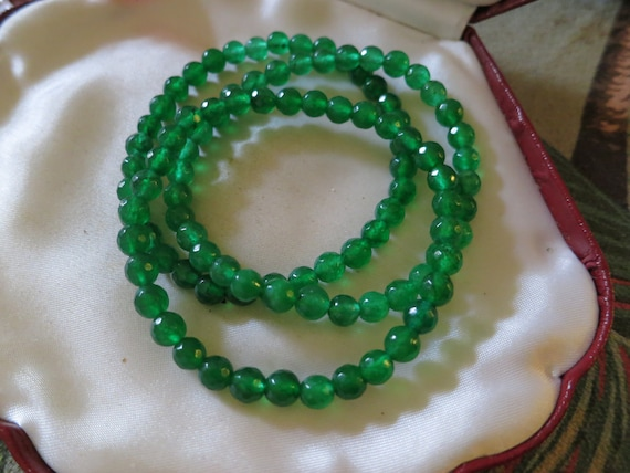 Lovely natural 6mm faceted emerald bracelet  7.5 inches