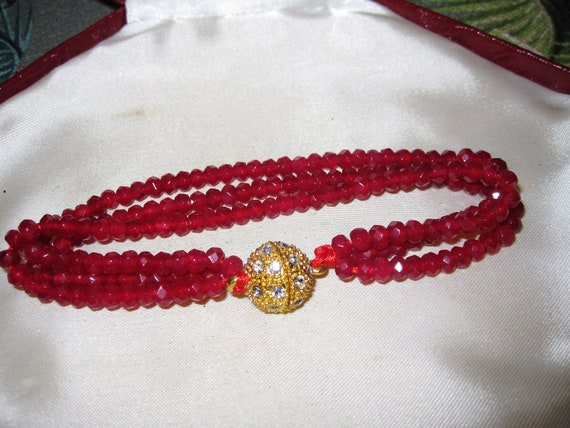 Lovely Natural Faceted 3 strand 4mm red Chalcedony  bracelet