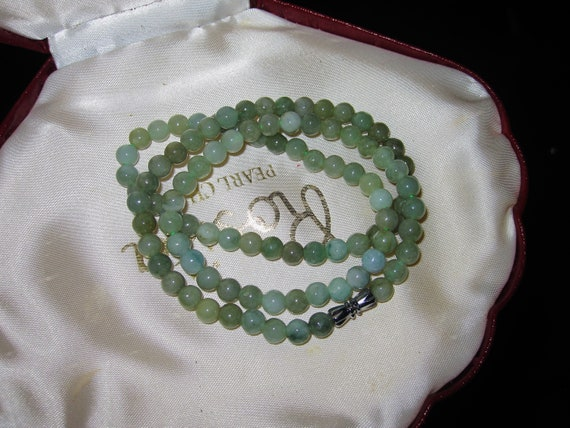 Lovely Natural Green Jade Jadeite 6.5mm necklace 20""