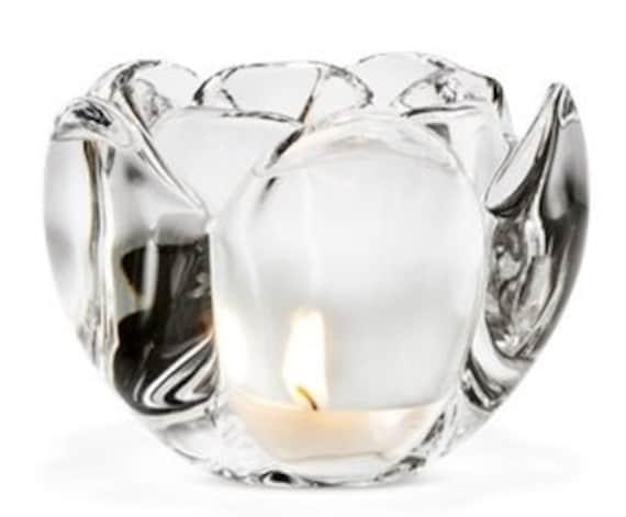 Lovely Holmegaard glass Lotus design votive tealight candle holder