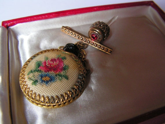 Gorgeous Vintage Glass Perfume Bottle with Petit Point Embroidery Brooch