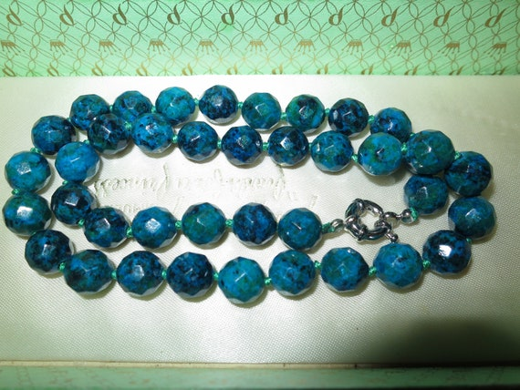 Lovely 10mm faceted blue green azurite stone necklace  18""