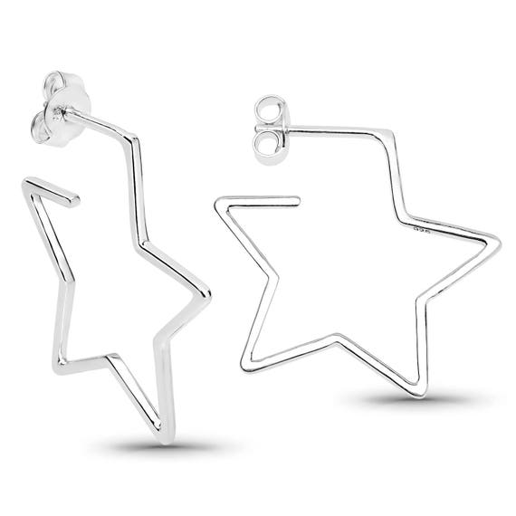 "Lovely new sterling silver ""Stellar"" Star earrings for pierced ears"