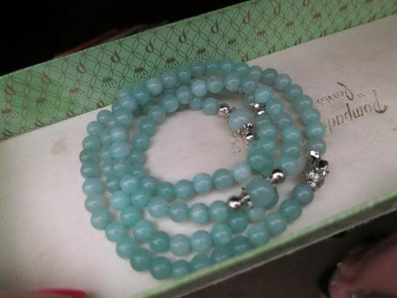 Lovely Natural 6.5mm Buddha Aquamarine  necklace or wrap bracelet 28 inches
