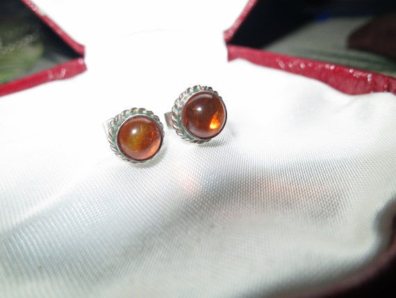 Beautiful sterling silver real amber cabochon stud earrings