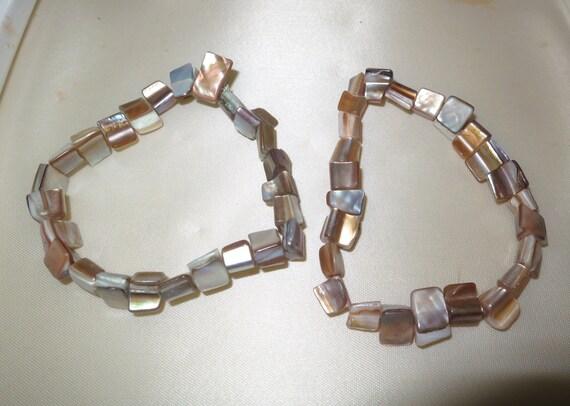 2 Vintage Mother of Pearl abalone stretch bracelets