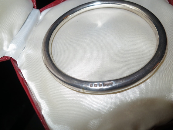 Antique Art Deco sterling silver hallmarked hollow round slave bangle for upper arm