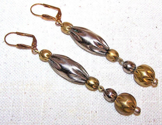 Lovely Vintage silver and goldtone dropper leverback earrings