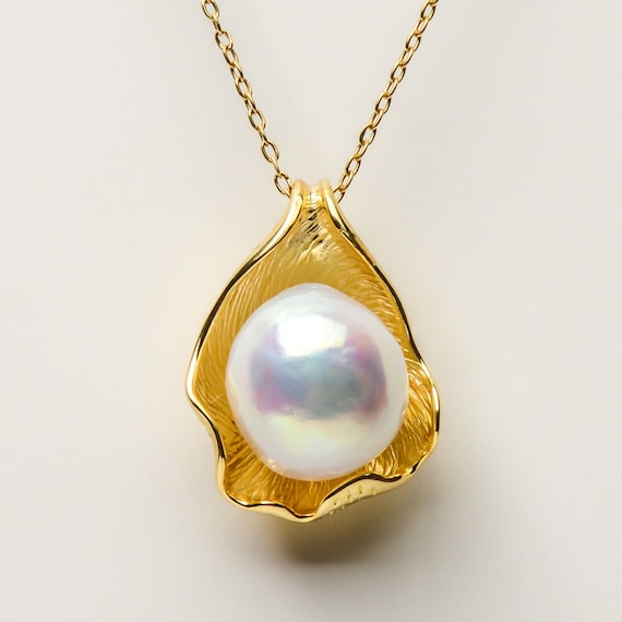 Beautiful Natural  golden 12-13mm Kasumi Pearl pendant set in gold over sterling silver