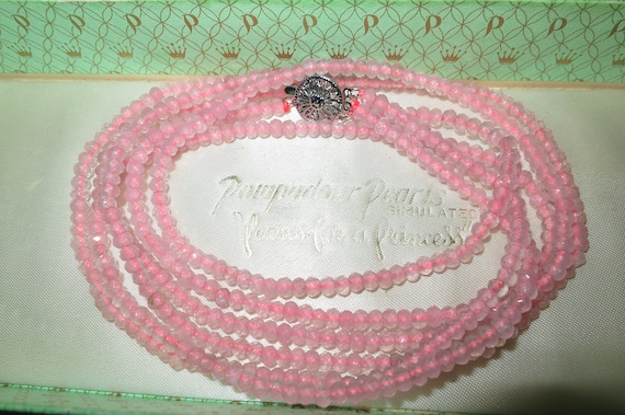 Gorgeous 3 strand 4mm pink watermelon tourmaline necklace 20""