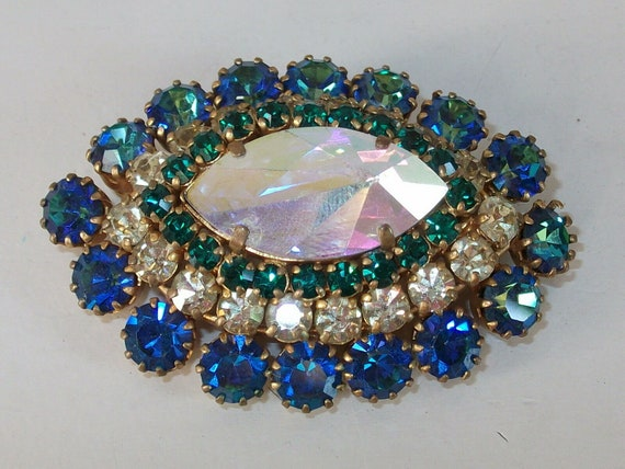 Stunning Vintage 1950's  blue and green AB Tiered Diamante Brooch