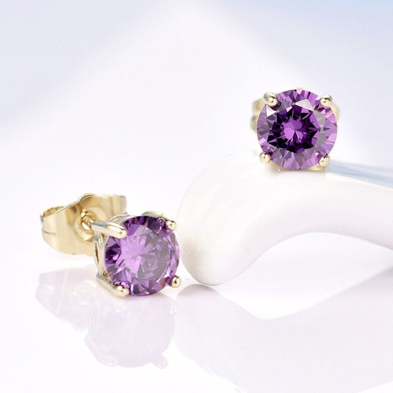 Lovely 18 ct yellow gold filled purple sapphire crystal stud earrings