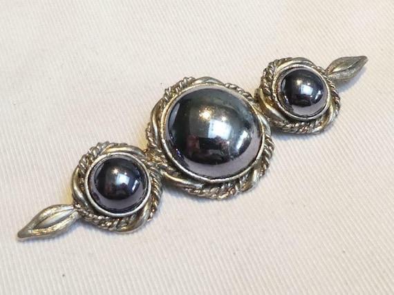 Lovely vintage  Metallic Gunmetal Grey   Glass Cabochon Bar brooch